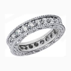 Wedding Band - Vintage Micro-Pavé Set Round Diamond Eternity Wedding Band 1.25 tcw. In 14K White Gold