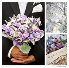 Purple wedding bouquet, silver branches