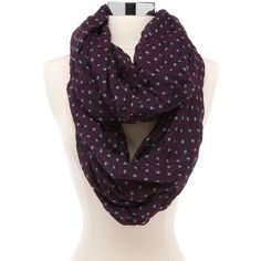 Mint Dot Plum Infinity Scarf ($9.99) ❤ liked on Polyvore