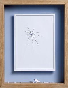 Acid free A4 80 gms paper, glue, acrylic paint and oak frame. 47,5 x 37 x 7 cm
