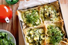 Zucchini, haloumi and herb tarts. This vegetarian tart can be served up in half an hour - just have your ingredients and kitchen tools ready! Vegetarian Tart, Vegetarian Recipes, Tart Recipes, Cooking Recipes, Yummy Recipes, Recipies, Healthy Recipes, Zucchini Tart, Recipe Zucchini