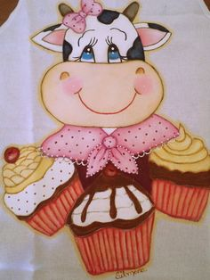 Cupcake Illustration, Foam Sheet Crafts, Cow Craft, Cow Decor, Cow Pictures, Cute Cows, Spring Painting, Country Paintings, Beautiful Gif