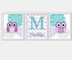 Personalized Baby Nursery Wall Art Lavender Teal Purple Turquoise Owls Brooklyn Flower Bursts Floral Blooms Dahlias Flourish Home Decor Prints for Girls Room Wall Art Monogram Name Chevron Baby Girl
