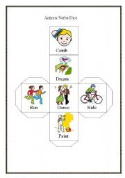 English worksheet: actions dice