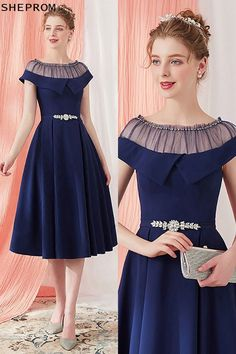 Sale Vintage Navy Blue Homecoming Party Dress Knee Length with Belt at. - Sale Vintage Navy Blue Homecoming Party Dress Knee Length with Belt at SheProm. Trendy Dresses, Simple Dresses, Cute Dresses, Casual Dresses, Fashion Dresses, Formal Dresses, Midi Dresses, Formal Prom, Wedding Dresses