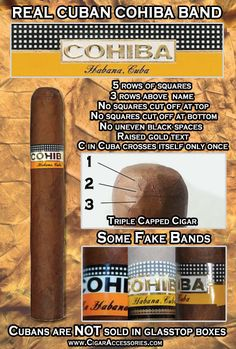 Real vs Fake Cuban Cohiba Cigar Band