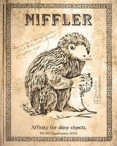 Niffler Scientific Page Art Print - from Nifty Fantastic Beasts NIFFLER Gift Ideas.