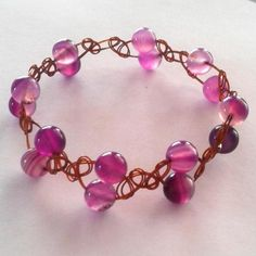 Bronze Bright Violet Agate Handcrafted Wirewoven Bracelet  #giftideas #handcrafted #giftsforher #handcraftedjewellery #uniquedesign #uniquejewellery #wirejewellery
