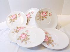 Melmac Boonton Pink Rose 6 inch Saucers  lot of 6