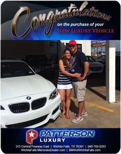 Congratulations to Bethany and Chris Medina with their new 2014 BMW - From Heike Misner at Patterson Luzury. Luxury Vehicle, Luxury Cars, Wichita Falls, New Bmw, Mercedes Benz, Congratulations, Vehicles, Rolling Stock