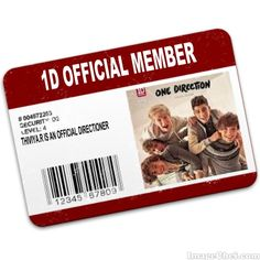 1 Direction Official Members Card