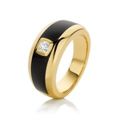 Gentlemen's 0.25ct round brilliant cut Diamond and black enamel gents ring set in the finest 18ct Yellow Gold