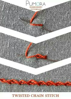 Crewel Embroidery Tutorial Pumora's embroidery stitch lexicon: twisted chain stitch tutorial - Learn how to embroider with the lexicon of embroidery stitches. Step by step tutorials on how to do the chain stitch and it's variations. Embroidery Designs, Crewel Embroidery Kits, Embroidery Stitches Tutorial, Learn Embroidery, Embroidery Needles, Silk Ribbon Embroidery, Embroidery Techniques, Cross Stitch Embroidery, Knitting Stitches