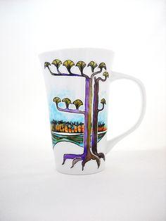 Hand Painted Mug Art on Porcelain Painted Cup @Blair Heald