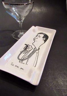 Vintage Cartoon Ashtray Snarky Tie One On by TheFlyingHostess