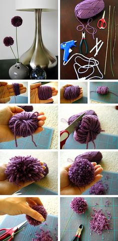 Yarn pom pom flowers. How to make pom poms. #pom #DIY
