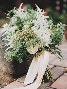 15 Stunning Greenery Wedding Bouquets For a simple and rustic wedding bouquet, fill it with Queen Anne's lace, privet berries and an abundance of greenery. Simple Wedding Bouquets, Wedding Flower Guide, Flower Bouquet Wedding, Floral Wedding, Wedding Colors, Flower Bouquets, Herb Wedding Centerpieces, Wedding Ideas, Wedding Greenery