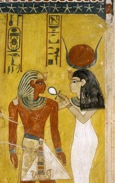 Thutmose IV Receiving Life from Hathor - Egyptian School Art Print, Canvas Ancient Egyptian Paintings, Ancient Egyptian Architecture, Ancient Egyptian Artifacts, Ancient Egypt History, Ancient Civilizations, Egyptians, Religion, Gods And Goddesses, Art History