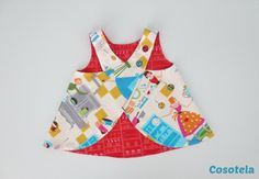 A top shaped apron crossed in the back. This model is quite popular on sewing sites. I found the boss planned from the height of 9 months to 8 years on Agulha site of ouro atelie but with an incomplete tutorial. By the way, I visualized . Toddler Dress, Toddler Outfits, Baby Dress, Kids Outfits, Sewing Baby Clothes, Baby Sewing, Diy Clothes, Sewing Online, Sewing Aprons