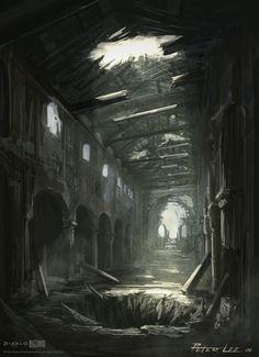 ArtStation - Diablo 3, Peter Lee Fantasy Art Landscapes, Fantasy Landscape, Fantasy Artwork, Landscape Art, Fantasy Castle, Medieval Fantasy, Fantasy Places, Fantasy World, World Of Darkness