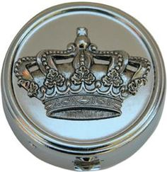 """Classic Legacy -1 5/8"""" Round Silver Pill Box with Crown"""