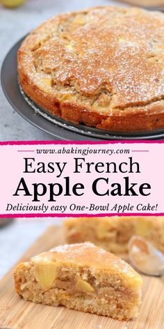 Easy French Apple Cake (One Bowl Only!) This super easy One Bowl French Apple Cake recipe is the perfect dessert to whip up in 30 minutes. The One-Bowl Apple Cake is super Moist and Light - great to enjoy with your afternoon tea or to finish a heavy meal! Moist Apple Cake, Easy Apple Cake, Apple Cake Recipes, Easy Cake Recipes, Baking Recipes, Sweet Recipes, One Bowl Apple Cake Recipe, Cooking Apple Recipes, Easy Apple Desserts