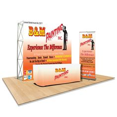 Trade Show Display Booth. Includes: Standard Retractable Banner Stand, Flat Trade Show Back Wall, Convertible Table Cloth Convertible Table, Retractable Banner, T Bag, Banner Stands, Creative Flyers, Trade Show, Digital Prints, Indoor, Events