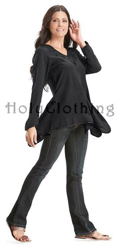 Gabriella Boho Chic V-Neck Asymmetrical Hem Embroidered Tunic Top - Tops