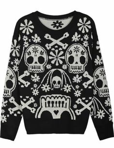 Black Long Sleeve Skull Pattern Loose Sweater pictures