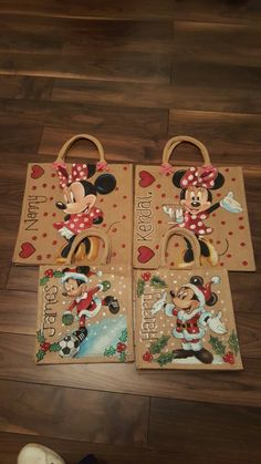 Disney jute bags by drews jutes original hand painted bags minnie and Mickey mouse Christmas