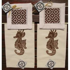 Lowcountry Linens Seahorse Guest Towel with Morocco Cocktail Napkins Set