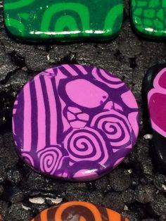 Bague en Fimo pâte polymère Ronde abstrait violet 3 cm : Bague par ys-creations