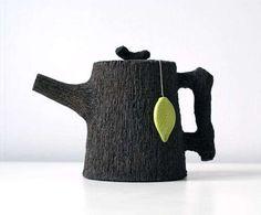 Gorgeous tea pot bark texture black