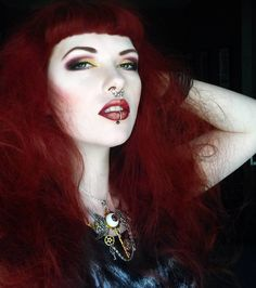 Red Hair Gothic Witch Rock Make Up Pale Skin