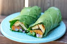 Gluten-free alternative to wheat tortilla wraps, more nutrient dense, AND less calories!  Tempeh sweet potato collard wraps from Eating Bird Food.