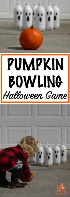 This fun DIY pumpkin bowling game is perfect for . - This fun DIY pumpkin bowling game is perfect for . Halloween Playlist, Diy Halloween Party Games, Halloween Party Kinder, Halloween Tags, Halloween Party Themes, Kids Party Games, Halloween Birthday, Easy Halloween, Halloween Pumpkins