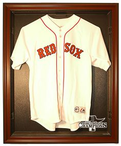 2013 Red Sox World Series Champs Cabinet Style Jersey Display, Mahogany from ManCaveGiant.com