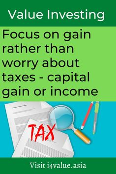 There are some investors who time their sales so that they get taxed under capital gains tax rather than under income tax. This mean generally holding the stocks longer than one year. What if the stock is overvalued under less than one year? Do you sell or do you hold on to try to get taxed under capital gain? My advice is to sell. This is because you are not in control of the timing. The stock price may drop if you wait. #i4value #learntoinvest #valueinvesting #stockmarket #investment Value Investing, Investing In Stocks, Fundamental Analysis, Technical Analysis, Capital Gains Tax, Dividend Investing, Asset Management, Income Tax, Stock Market
