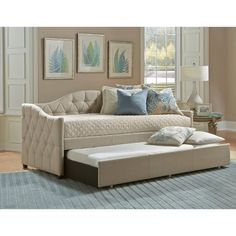 Jamie Daybed w/ Trundle - Hillsdale Furniture bedroom design comes in a space-saving package with the Jamie Daybed. Finished in a goes-with-everything pillowed beige fabric, the Jamie Daybed adds extra sleep space and style all at once. Hillsdale Furniture, Bedroom Furniture, Furniture Decor, Furniture Design, Twin Daybed With Trundle, Girls Daybed, Trundle Beds, Upholstered Daybed, Daybed Couch