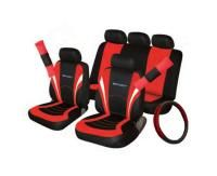 Full set of seat covers with separate headrest covers Matching steering wheel cover Matching seat belt pads Universal fit Black/Red