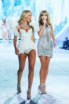 Candice Swanepoel & Taylor Swift, Victoria's Secret Fashion Show 2013.