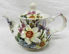 Vintage Windsor Sadler England Floral Porcelain Teapot - English China Tea Pot - Multicolor and multiple varieties of flowers - Lovely