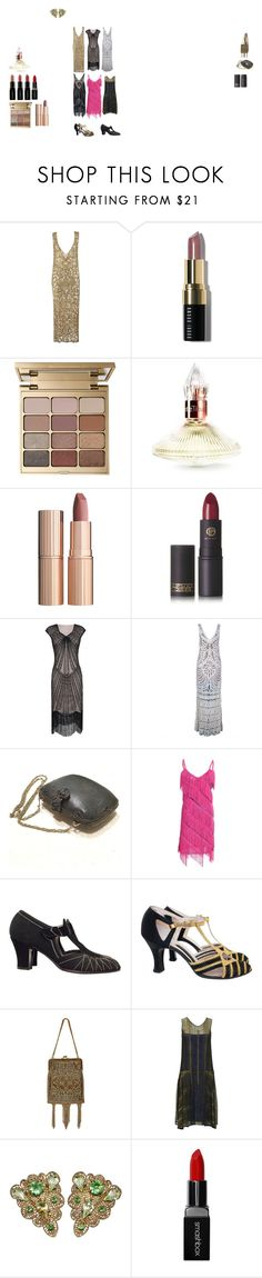 """1920s fashion"" by extracrispyjoy ❤ liked on Polyvore featuring Bobbi Brown Cosmetics, Stila, Charlotte Tilbury, Lipstick Queen and Smashbox"