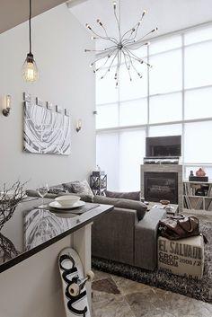 [Interior] Loft de estilo industrial a dos niveles en gris