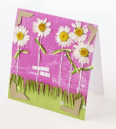 Creative idea: use pressed flowers to add a different touch to your card! Make sure that all of the moisture is out of the flower so that it doesn't turn brown. Attach your flower with adhesives and enjoy!