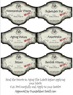 harry potter labels