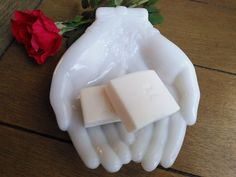 Vintage White Milk Glass Hand Dish for Soap, Rings, Jewelry, Candy - Avon Double Open Hands by ShabbyBrocante on Etsy