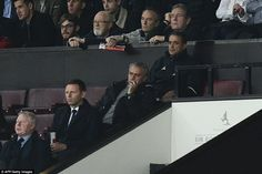 Mourinho watches on glum-faced from the directors' box during the second-half as United streamed forward for a goal