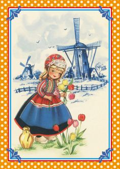Old Dutch Postcard  -  Peasant girl with clogs and tulips with a Delft blue windmill in the background.