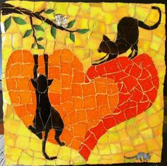 Curious cats Mosaic by Daleen Edgar Mosaic Diy, Mosaic Garden, Mosaic Crafts, Mosaic Projects, Mosaic Tiles, Mosaics, Stone Mosaic, Mosaic Glass, Glass Art